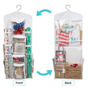 Products houseables wrapping paper storage gift wrap organizer 10 pockets 43 x 17 white clear plastic home closet organization hanging craft holder for christmas decorations ornaments ribbons
