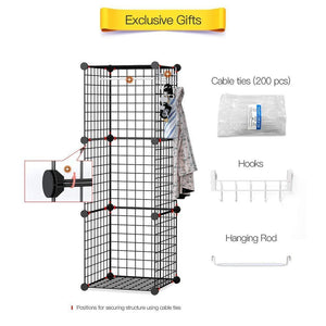 Home george danis wire storage cubes metal shelving unit portable closet wardrobe organizer multi use rack modular cubbies black 14 inches depth 3x5 tiers