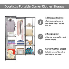 Load image into Gallery viewer, Related dporticus portable corner clothes closet wardrobe storage organizer with metal shelves and dustproof non woven fabric cover in gray