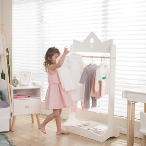 Featured jolie vallee toys home 2 in 1 kids wood armoire wardrobe crown clothes rack white baby clothes storage rack standing closet boutique clothes rack organizer for toddler girls 2 5 years