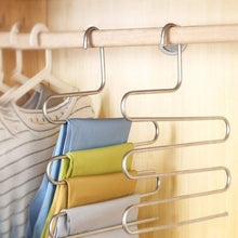 Load image into Gallery viewer, Shop for s type stainless steel clothes pants hangers for closet organization with multi purpose for space saving storage 10 pack
