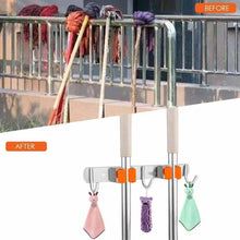 Load image into Gallery viewer, Discover the vodolo mop broom holder wall mount garden tool organizer stainless steel duty organizer with 2 racks 3 hooks for kitchen bathroom closet garage office laundry screw or adhesive installation orange