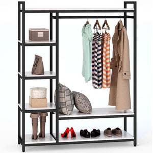 Budget friendly little tree free standing closet organizer heavy duty clothes rack with 6 shelves and handing bar large closet storage stytem closet garment shelves