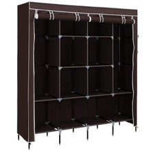 Load image into Gallery viewer, Save on songmics 67 inch wardrobe armoire closet clothes storage rack 12 shelves 4 side pockets quick and easy to assemble brown uryg44k