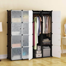 Load image into Gallery viewer, Select nice honey home modular plastic storage cube closet organizers portable diy wardrobes cabinet shelving with doors for bedroom office 16 cubes black white