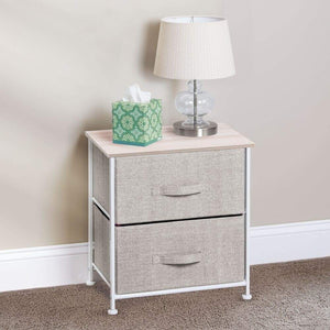 Online shopping mdesign end table night stand storage tower sturdy steel frame wood top easy pull fabric bins organizer unit for bedroom hallway entryway closets textured print 2 drawers linen natural