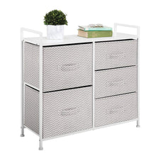 Load image into Gallery viewer, Shop for mdesign wide dresser storage tower sturdy steel frame wood top easy pull fabric bins organizer unit for bedroom hallway entryway closets chevron print 5 drawers taupe white