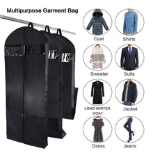 Load image into Gallery viewer, Related wanapure 60 54 43 garment bags 3 in 1 suit bag with 2 large mesh shoe pockets and accessories pocket trifold suit cover for dress coat jacket closet storage or travel set of 2 black