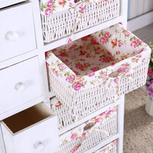 Load image into Gallery viewer, Get durable dresser storage tower 5 drawers with wicker baskets sturdy frame wood top easy pulling organizer unit for bedroom hallway entryway closet white
