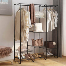 Load image into Gallery viewer, Discover the langria large free standing closet garment rack made of sturdy iron with spacious storage space 8 shelves clothes hanging rods heavy duty clothes organizer for bedroom entryway black