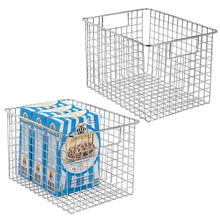 Load image into Gallery viewer, Purchase mdesign farmhouse decor metal wire food storage organizer bin basket with handles for kitchen cabinets pantry bathroom laundry room closets garage 12 x 9 x 8 2 pack chrome