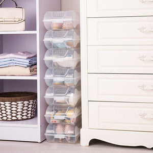 Select nice baoyouni clear shoe box closet corner storage case holder dust proof breathable organizer saving space stackable with lid for flats athletic shoes sandals heels sneakers pack of 5
