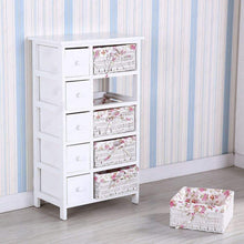Load image into Gallery viewer, Featured durable dresser storage tower 5 drawers with wicker baskets sturdy frame wood top easy pulling organizer unit for bedroom hallway entryway closet white