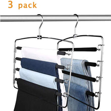 Load image into Gallery viewer, Cheap lucky life clothes pants hangers 3 pack pant slack hangers space saving non slip stainless steel closet organizer with foam padded swing arm for pants jeans scarf 1