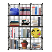Load image into Gallery viewer, Discover genenic 12 cube closet organizer garage storage racks sets shelf cabinet wire grids panels and units for books plants toys shoes clothes stainless steel black