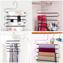 Load image into Gallery viewer, Best star fly pants hangers non slip updated s shaped 5 layers hangers closet space saver for jeans scarf tie clothes6 pack