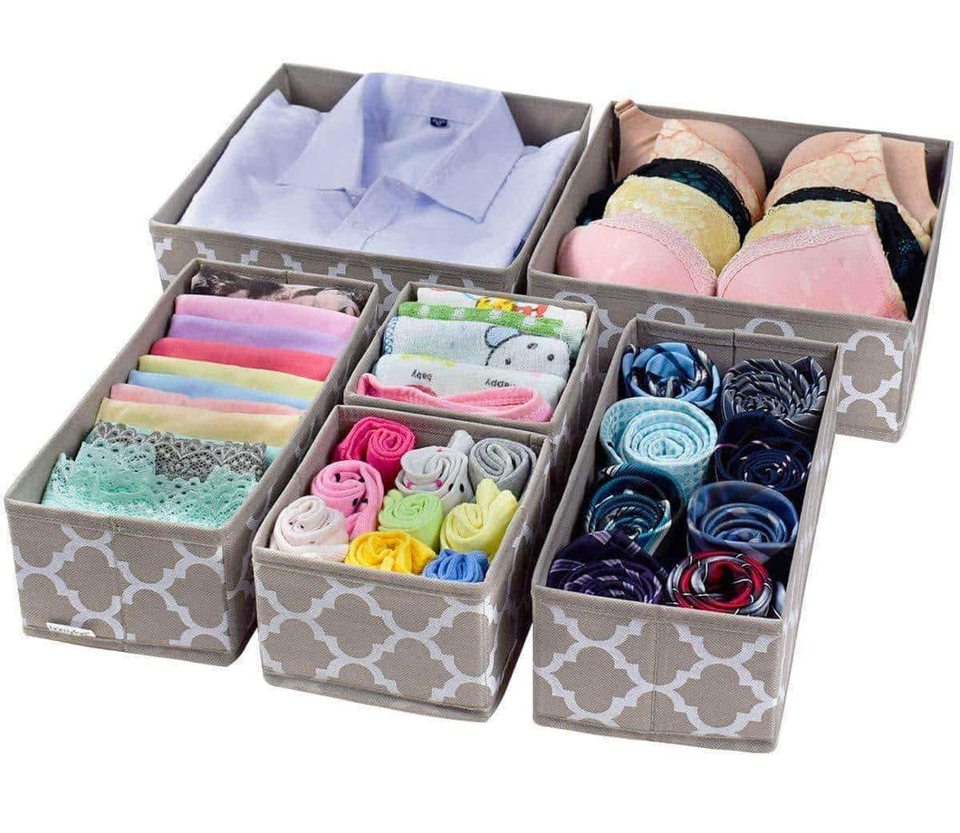 Get foldable cloth storage box closet dresser drawer organizer cube basket bins containers divider with drawers for underwear bras socks ties scarves set of 6 light coffee with white lantern pattern