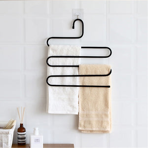 Discover ds pants hanger multi layer s style jeans trouser hanger closet organize storage stainless steel rack space saver for tie scarf shock jeans towel clothes 4 pack 1