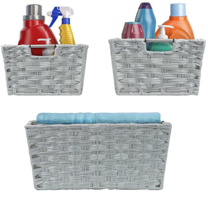 The best sorbus woven basket bin set storage for home decor nursery desk countertop closet cube organizer shelf stackable baskets includes built in carry handles set of 3 light gray