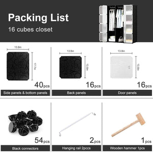 Shop honey home modular plastic storage cube closet organizers portable diy wardrobes cabinet shelving with doors for bedroom office 16 cubes black white