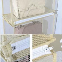 Load image into Gallery viewer, Save on zaro 2 in 1 hanging shelf garment organizer for bags clothes 4 shelves practical closet purse storage collapsible space saver accessory breathable mesh net with hooks hanger easy mount gray
