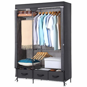 Great lifewit full metal closet organizer wardrobe closet portable closet shelves with adjustable legs non woven fabric clothes cover and 3 drawers sturdy and durable large size