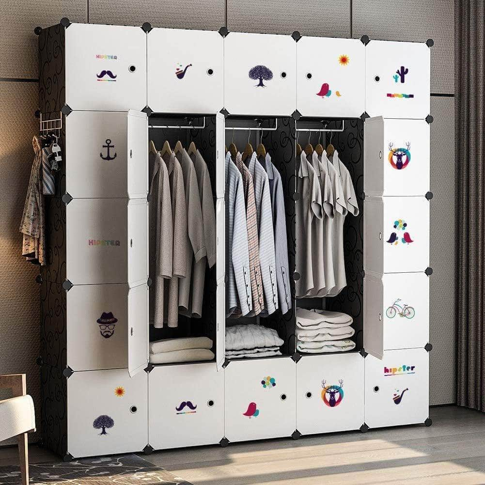 Cheap yozo closet organizer portable wardrobe cloth storage bedroom armoire cube shelving unit dresser cabinet diy furniture black 25 cubes