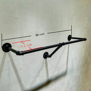 Shop here warm van industrial pipe wall mounted clothes hanging shelves system metal clothing towel rack garment rack perfect for retail display closet organizationone pipe shelves 59 l