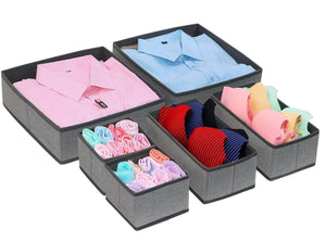 Discover the onlyeasy foldable cloth storage box closet dresser drawer organizer cube basket bins containers divider with drawers for scarves underwear bras socks ties 6 pack linen like grey mxdcb6p