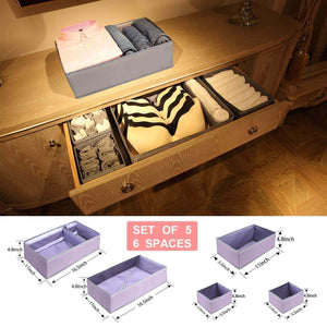 Home drawer organizer clothes dresser underwear organizer washable deep socks bra large boxes storage foldable removable dividers fabric basket bins closet t shirt jeans leggings nursery baby clothing gray