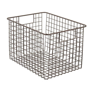Best seller  mdesign large farmhouse deco metal wire storage organizer basket bin with handles for organizing closets shelves and cabinets in bedrooms bathrooms entryways hallways 8 high 4 pack bronze