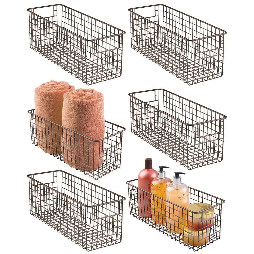 Save mdesign farmhouse decor metal wire bathroom organizer storage bin basket for cabinets shelves countertops bedroom kitchen laundry room closet garage 16 x 6 x 6 in 6 pack bronze