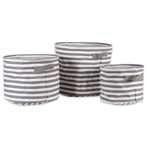Top dii fabric round room nurseries closets everyday storage needs asst set of 3 gray stripe laundry bin assorted sizes