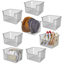 Load image into Gallery viewer, Purchase mdesign farmhouse decor metal storage organizer basket vintage grid style for organizing closets shelves cabinets in bedrooms bathrooms entryways hallways 12 wide 8 pack graphite gray
