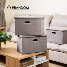 Load image into Gallery viewer, Storage prandom large collapsible storage bins with lids 3 pack linen fabric foldable storage boxes organizer containers baskets cube with cover for home bedroom closet office nursery 17 7x11 8x11 8