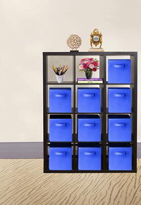 Top rated 30 pack blue storage cubes with two handles shelves baskets bins containers home decorative closet organizer household fabric cloth collapsible box toys storages drawer blue 30 pack