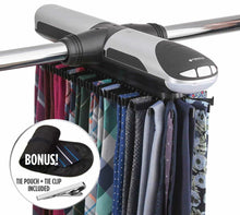 Load image into Gallery viewer, Top rated storagemaid motorized tie rack organizer for closet with led lights battery operated holds 72 ties and 8 belts includes j hooks for wire shelving bonus tie travel pouch tie clip
