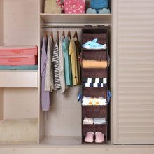 Load image into Gallery viewer, Exclusive magicfly hanging closet organizer with 4 side pockets 6 shelf collapsible closet hanging shelf for sweater handbag storage easy mount hanging clothes storage box brown