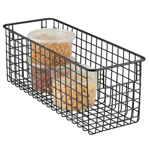 Kitchen mdesign farmhouse decor metal wire food storage organizer bin basket with handles for kitchen cabinets pantry bathroom laundry room closets garage 16 x 6 x 6 6 pack matte black