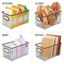 Load image into Gallery viewer, Explore mdesign metal bathroom storage organizer basket bin modern wire grid design for organization in cabinets shelves closets vanity countertops bedrooms under sinks 4 pack bronze