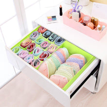 Load image into Gallery viewer, Shop here begost storage bins foldable underwear organizer storage box washable multi functional drawer dividers 2 in 1 closet divider storage box with cover for underwear socks ties bra and bins green