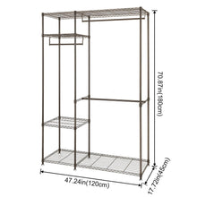Load image into Gallery viewer, Home lifewit portable wardrobe clothes closet storage organizer with hanging rod adjustable legs quick and easy to assemble large capacity dark brown