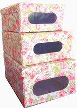 Load image into Gallery viewer, Get protect store organize and keep dust out with our sturdy italian stackable closet storage boxes with hinged lid and window vinyl covered in and out for ez cleaning english rose design set of 3
