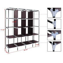 Load image into Gallery viewer, Shop for songmics 67 inch wardrobe armoire closet clothes storage rack 12 shelves 4 side pockets quick and easy to assemble brown uryg44k