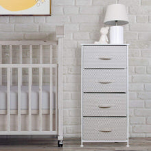 Load image into Gallery viewer, Select nice mdesign vertical furniture storage tower sturdy steel frame wood top easy pull fabric bins organizer unit for bedroom hallway entryway closets chevron zig zag print 4 drawers taupe