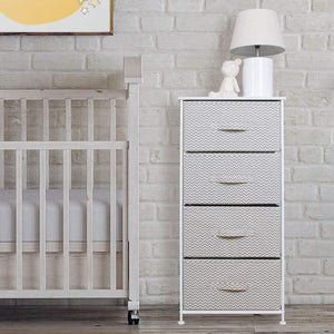 Select nice mdesign vertical furniture storage tower sturdy steel frame wood top easy pull fabric bins organizer unit for bedroom hallway entryway closets chevron zig zag print 4 drawers taupe