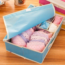 Load image into Gallery viewer, Top rated kaimao foldable storage boxes drawer dividers closet organisers under bed organiser for underwear bra socks tie scarves with lid blue