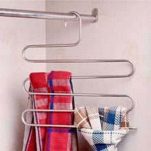 Load image into Gallery viewer, Try 4 pack s type hanger for clothing closet storage stainless steel pants hangers with 5 layers multi purpose loveyal limited space storage rack for trousers towels scarfs ties jeans 4