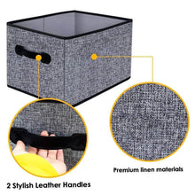 Load image into Gallery viewer, Get homyfort cloth collapsible storage bins cubes 15 7x11 8x9 8 linen fabric basket box cubes containers organizer for closet shelves with leather handles set of 3 grey