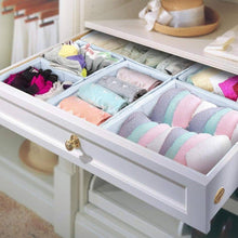 Load image into Gallery viewer, Kitchen storage bins ispecle foldable cloth storage cubes drawer organizer closet underwear box storage baskets containers drawer dividers for bras socks scarves cosmetics set of 6 grey chevron pattern